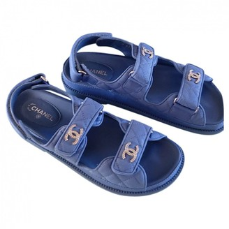 Chanel Blue Cloth Sandals