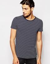 Scotch & Soda T-shirt With Fine Stripe - Blue