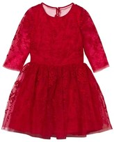 David Charles Red Embroidered Tulle Dress with 3/4 Sleeve