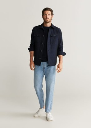 MANGO MAN - Pocket linen cotton jacket dark navy - S - Men