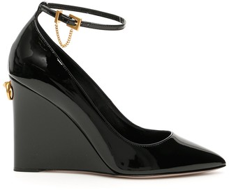 Valentino Patent Ankle Strap Wedges