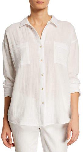 9298426c Womens Cotton Gauze Button Down Shirt - ShopStyle