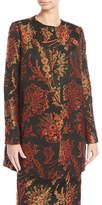 Zac Posen Button-Front Floral-Jacquard Collarless Long Jacket