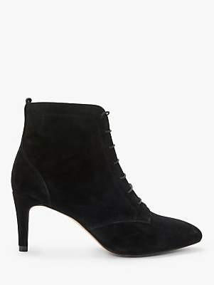 Boden Bardon Lace Up Stiletto Heel Suede Ankle Boots, Black