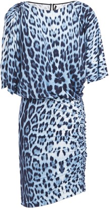 Roberto Cavalli Asymmetric Gathered Leopard-print Stretch-jersey Mini Dress