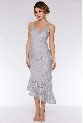 Quiz Grey Lace Glitter Asymmetric Hem Midi Dress