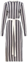 Three Graces London Verena Striped Cotton-blend Knitted Dress - Womens - Navy Stripe