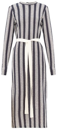 Three Graces London Verena Striped Cotton-blend Knitted Dress - Navy Stripe