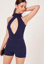 Missguided Ribbed Split Front Playsuit Navy