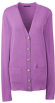 Lands' End Women's Performance Long Sleeve V-neck Cardigan with Pockets-Sea Spray Foil Starfish