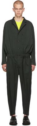 Issey Miyake Green Wool Wrinkle Jumpsuit