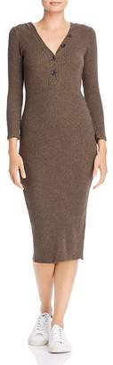 Enza Costa Poorboy Henley Ribbed Knit Midi Dress