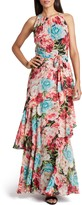 Tahari Floral Halter Neck Chiffon Maxi Dress