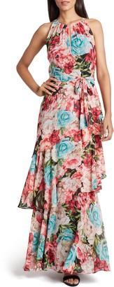 Tahari Floral Halter Neck Chiffon Maxi Dress