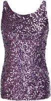 PrettyGuide Women Shimmer Glam Sequin Embellished Sparkle Tank Top Vest Tops US M/Asian L