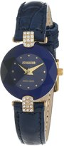 Jowissa Women's J5.011.S Facet Strass Gold PVD Dimensional Glass Leather Rhinestone Watch