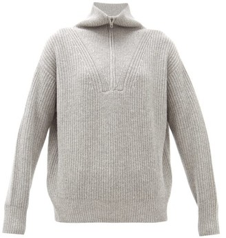Nili Lotan Hester Zipped High-neck Cashmere Sweater - Womens - Grey