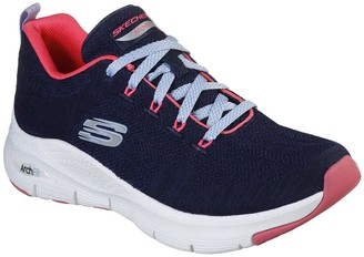 Skechers Arch Fit Comfy Wave Trainers - Navy/Pink