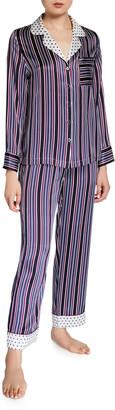 Neiman Marcus Striped Two-Piece Silk Pajama Set w/ Polka-Dot Contrast