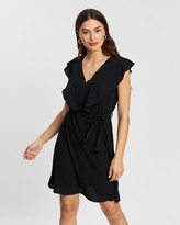 Atmos & Here Atmos&Here Crepe Ruffle Neck Dress