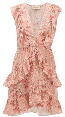 Adriana Degreas Aloe-print Ruffled Crepe Dress - Womens - Pink Print