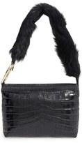 Elizabeth and James 'Finley' Leather & Genuine Sheep Fur Shoulder Bag - Black