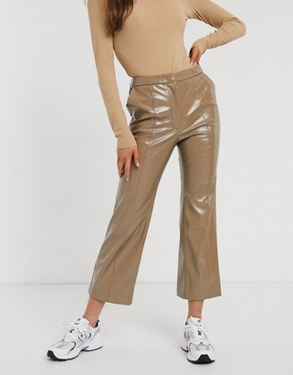 Weekday patent flared trousers in beige