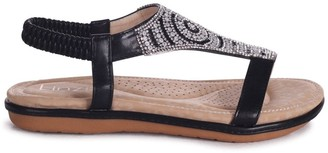 Linzi MAY - Black Nappa Sandal With Padded Inner & Diamante Front Detail