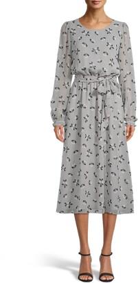 Anne Klein Long Sleeve Fit & Flare Midi Dress