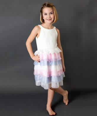 Us Angels Girls' Special Occasion Dresses IVORY - Ivory Tulle Ruffle-Skirt Sleeveless Dress - Toddler & Girls