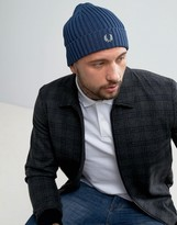 Fred Perry Logo Beanie In Blue