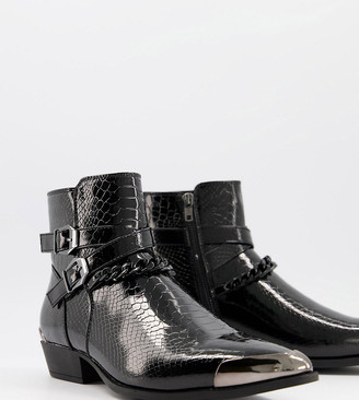 ASOS DESIGN Wide Fit cuban heel western chelsea boots in black croc faux leather with strap and chain detail