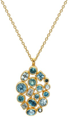 Gurhan 24kt and 22kt gold mixed stone Cluster pendant necklace