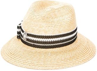 Ermanno Scervino Striped Strap Straw Hat