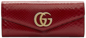 Gucci Red Snake GG Broadway Clutch