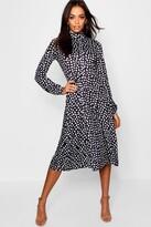 boohoo High Neck Long Sleeve Dalmatian Print Midi Dress