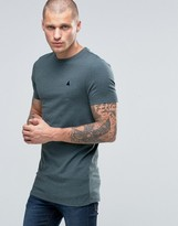 Asos Longline Muscle T-Shirt With Crew Neck And Logo In Green Marl