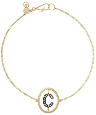 Annoushka 18ct yellow gold diamond initial C bracelet