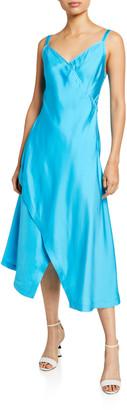 Sies Marjan Satin V-Neck Asymmetric Slip Dress