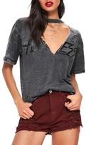 Missguided Women's Distressed Choker Neck Graphic Tee
