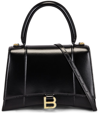 Balenciaga Medium Hourglass Top Handle Bag in Black   FWRD