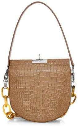 Gu De Small Demilune Croc-Embossed Leather Crossbody Bag