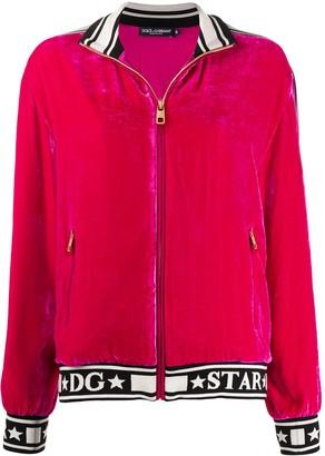 Dolce & Gabbana Logo Velour Track Jacket