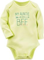 Carter's Long-Sleeve Yellow Auntie Slogan Bodysuit - Baby Girls newborn-24m