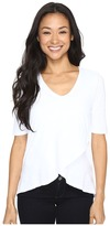 Mod-o-doc Slub Jersey Elbow Sleeve Crossover Hem Tee Women's T Shirt
