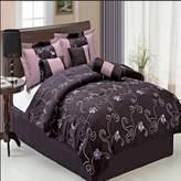 Egyptian Bedding® Egyptian Bedding Luxurious Size 11 Piece Covington Purple Comforter Set with Comforter, Bed Skirt, Pillow Shams, Cushion, Breakfast Pillow, Neck Roll & BONUS 600TC 100% Egyptian Cotton Bed Sheet Set, Color Style Shades of Purple