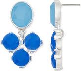 Liz Claiborne Blue Stone Double-Drop Silver-Tone Earrings