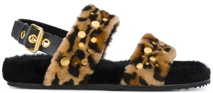 Car Shoe Leo fur sandals