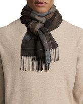 Neiman Marcus Cashmere Large-Plaid Scarf, Black/Brown