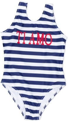 Alberta Ferretti Kids Ti Amo striped pattern swimsuit